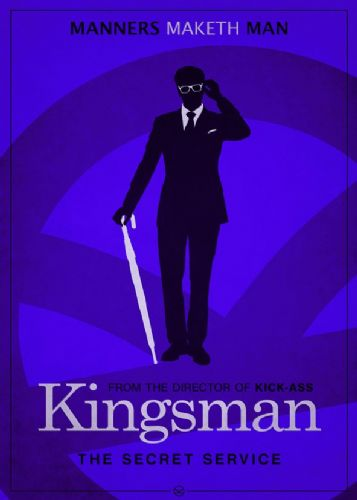 2010's Movie - KINGSMAN MINIMAL BLUE canvas print - self adhesive poster - photo print